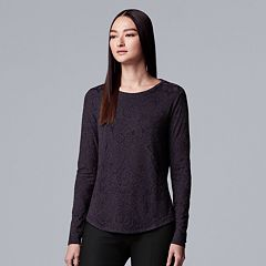 Petite Simply Vera Vera Wang Two-Tone Long Sleeve Top