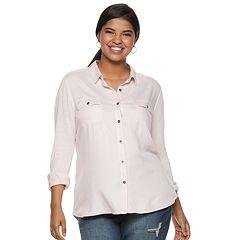 Juniors' Plus Size SO® Roll Tab Tunic Shirt