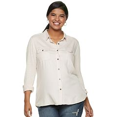 Juniors' Plus Size SO® Roll Tab Tunic Shirt