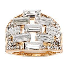 Jennifer Lopez Gold Tone Crystal Cluster Stretch Ring