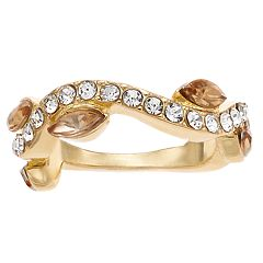 Jennifer Lopez Gold Tone Pave Stone Stretch Ring