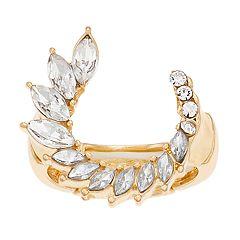 Jennifer Lopez Gold Tone Crystal Open Circle Stretch Ring