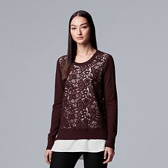 Petite Simply Vera Vera Wang Floral-Lace Mock-Layer Sweater