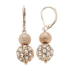 Napier Double Drop Rose Gold Tone Earrings