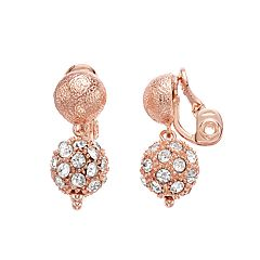 Napier Double Drop Rose Gold Tone Clip-On Earrings