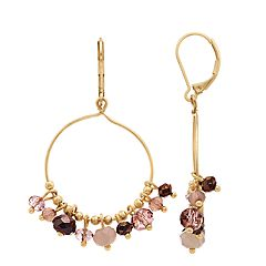 Simply Vera Vera Wang Gold Tone Pink Bead Detail Drop Hoop Earrings