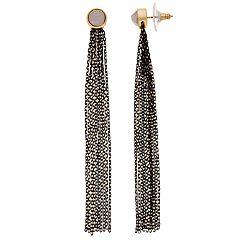 Simply Vera Vera Wang Gold & Jet Tone Tassel Detail Pink Simulated Crystal Drop Earrings