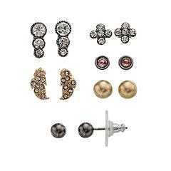 Simply Vera Vera Wang Gold & Jet Tone Simulated Stone Stud Earring Set