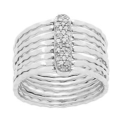 Sterling Silver 1/6 Carat T.W. Diamond Multi Band Ring