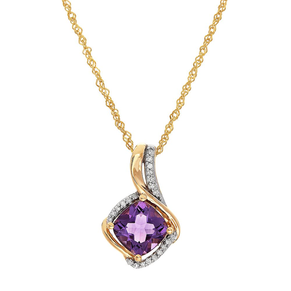 10k Gold Amethyst & Diamond Accent Cushion Pendant Necklace
