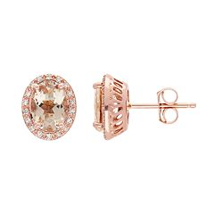 14k Rose Gold Morganite Oval Stud Earrings