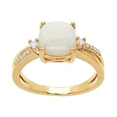 10k Gold White Opal & 1/10 Carat T.W. Diamond Ring