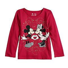 Disney's Minnie & Mickey Mouse Toddler Girl Glittery Heart Tee by Jumping Beans®