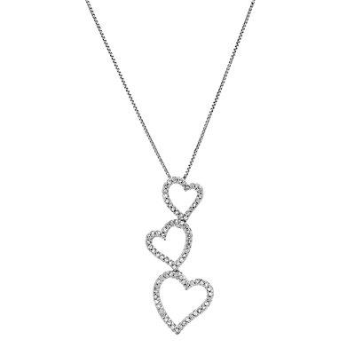 10k White Gold 1/4 Carat T.W. Diamond Triple Heart Pendant