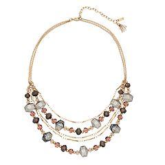 Simply Vera Vera Wang Gold Tone Grey & Pink Bead Multi Strand Necklace