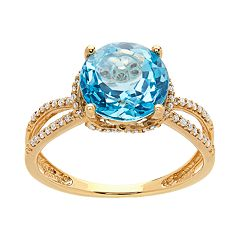 14k Gold Blue Topaz & 1/6 Carat T.W. Diamond Split Shank Ring