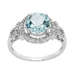14k White Gold Aquamarine & 1/5 Carat T.W. Diamond Tiered Halo Ring