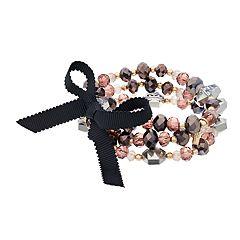 Simply Vera Vera Wang Gold Tone Grey & Pink Bead Stretch Bracelet Set