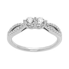 14k White Gold 1/2 Carat T.W. Diamond 2-Stone Ring