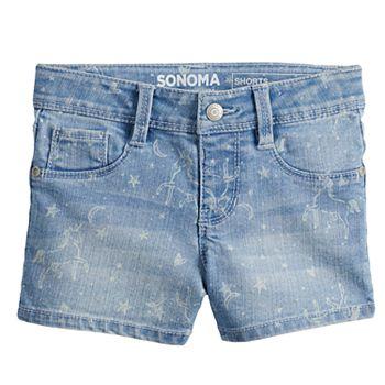 Girls 4-12 SONOMA Goods for Life? Unicorn Denim Shortie Shorts