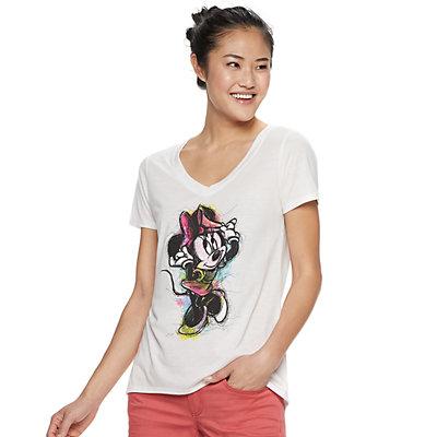 Disney's Minnie Mouse Juniors' V-Neck Graphic Tee