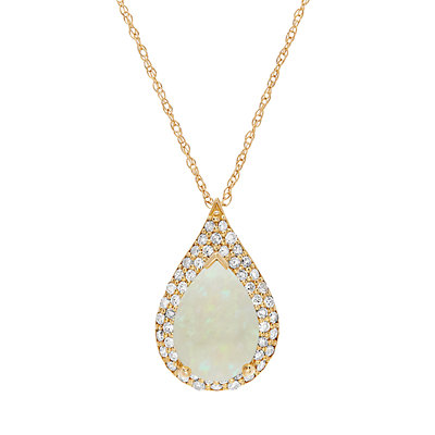 14k Gold White Opal & 1/4 Carat T.W. Diamond Teardrop Pendant