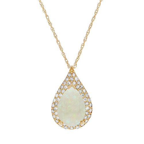 14k Gold White Opal & 1/4 Carat T.W. Diamond Teardrop Pendant