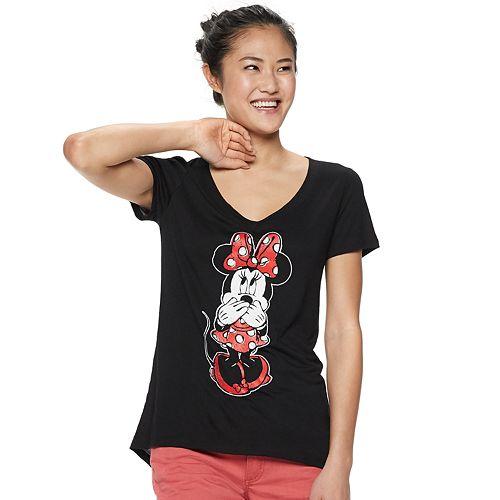 1f8df7c0ff49 Disney's Minnie Mouse Juniors' V-Neck Graphic Tee