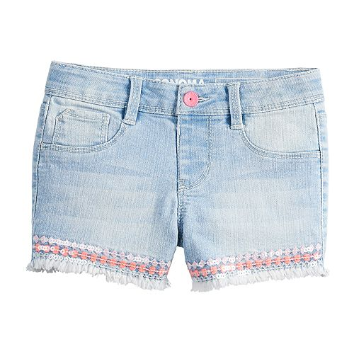 Girls 4-12 SONOMA Goods for Life® Sequin Frayed-Hem Denim Shorts