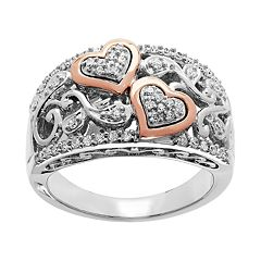 Two Tone Sterling Silver 1/4 Carat T.W. Filigree Heart Ring