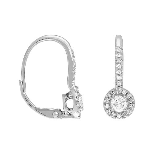 14k White Gold 1 Carat T.W. Diamond Leverback Earrings