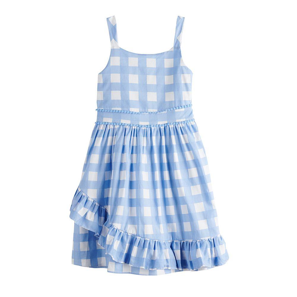 Girls 7-16 Lavender Faux Wrap Ruffle Dress