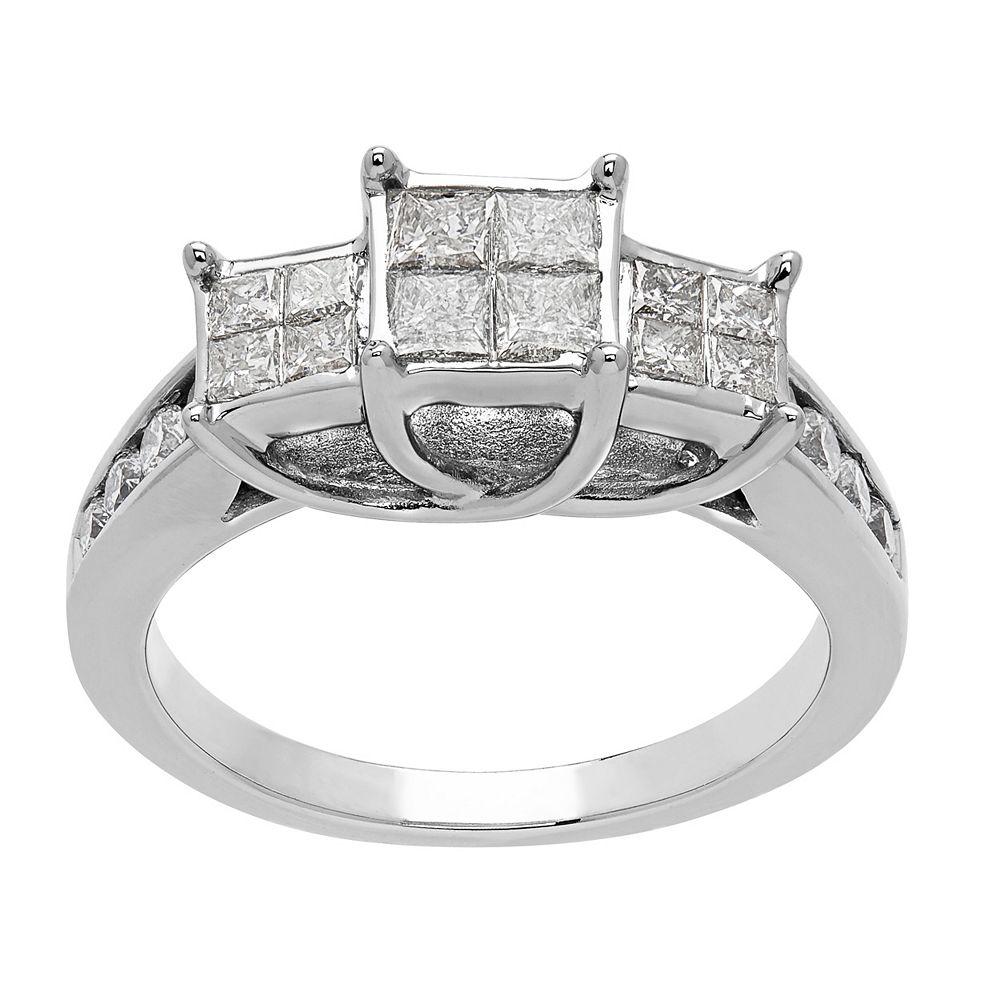 10k White Gold 1 Carat T.W. Diamond 3-Stone Ring
