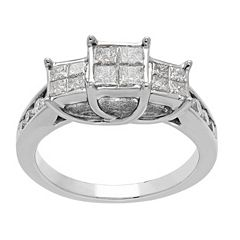 10k White Gold 1 Carat T.W. Diamond 3-Stone Ring