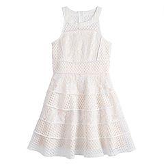 Girls 7-16 Lavender Lace Fit & Flare Dress