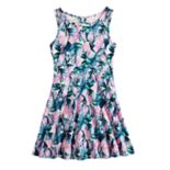 Girls 7-16 Lavender Floral Scuba Fit & Flare Dress