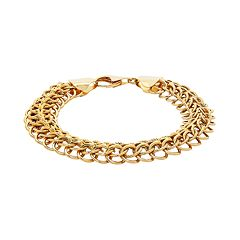 14k Gold Polished & Textured Link Bracelet