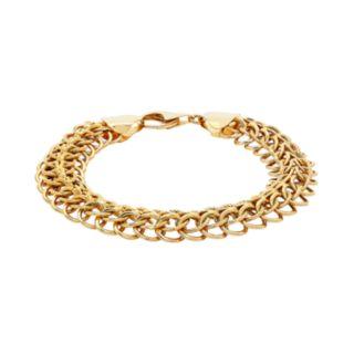 14k Gold Polished & Textured Link Bracelet