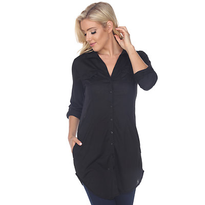 Women's White Mark Button-Down Tunic