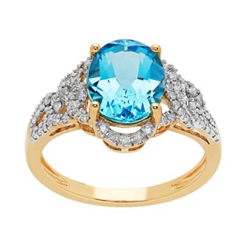 10k Gold Blue Topaz & 1/3 Carat T.W. Diamond Ring