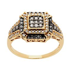 14k Gold 1/2 Carat T.W. White & Black Diamond Ring