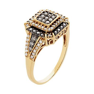 14k Gold 1/2 Carat T.W. White & Black Diamond Ring