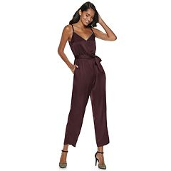 Women's Jennifer Lopez Caviar-Trim Satin Jumpsuit