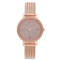 Jennifer Lopez Crystal Pave Mesh Band Watch
