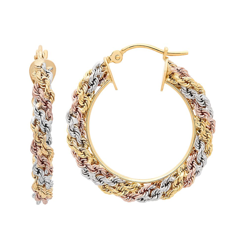 Tri-Tone 14k Gold Macrame Hoop Earrings
