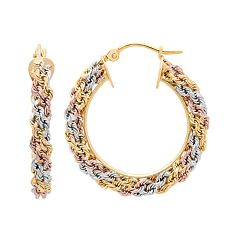 Tri-Tone 14k Gold Macrame Hoop Earrings