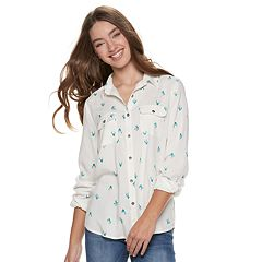 Juniors' SO® Button-Front Woven Shirt