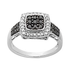 14k White Gold White & Black Diamond Square Halo Ring