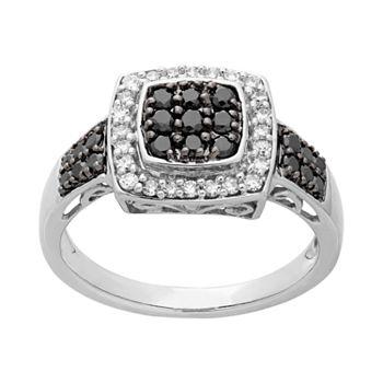 14k White Gold White & Black Diamond Square Halo Ring