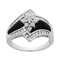 14k White Gold Onyx and 1/2 Carat T.W. Diamond Ring
